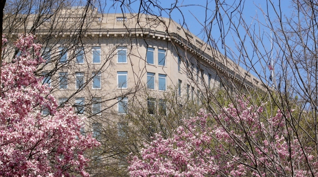 Department of Veterans Affairs Headquarters with trees in foreground