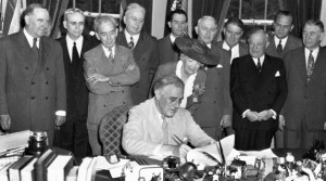 President Roosevelt signing the GI Bill of Rights