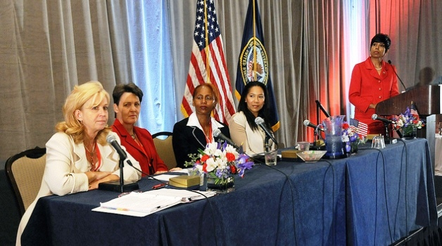 Photo of five women during a panel