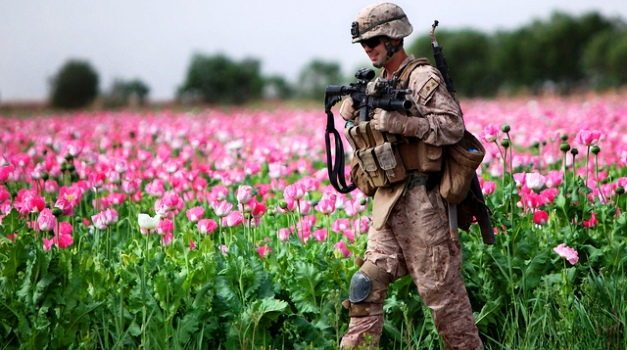 Photo of a Marine in Afghanistan