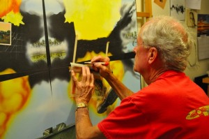 Picture of Vietnam Veteran creating art