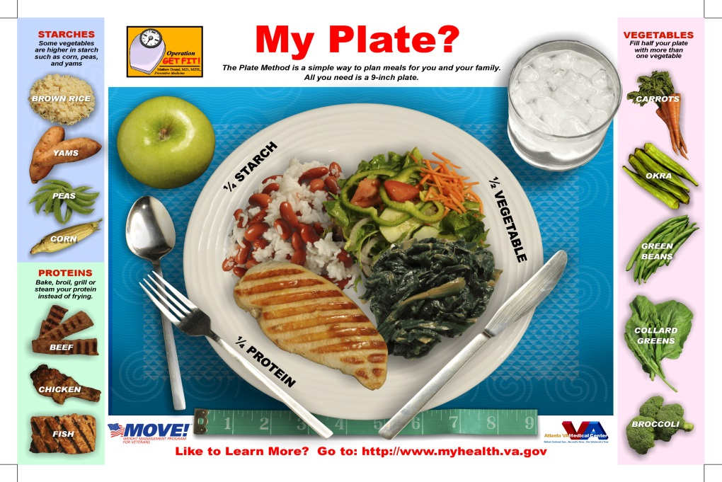 my plate picture shows different serving sizes