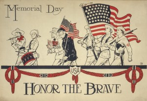men and boys of various ages marching in a memorial day parade. The words honor the brave are added below