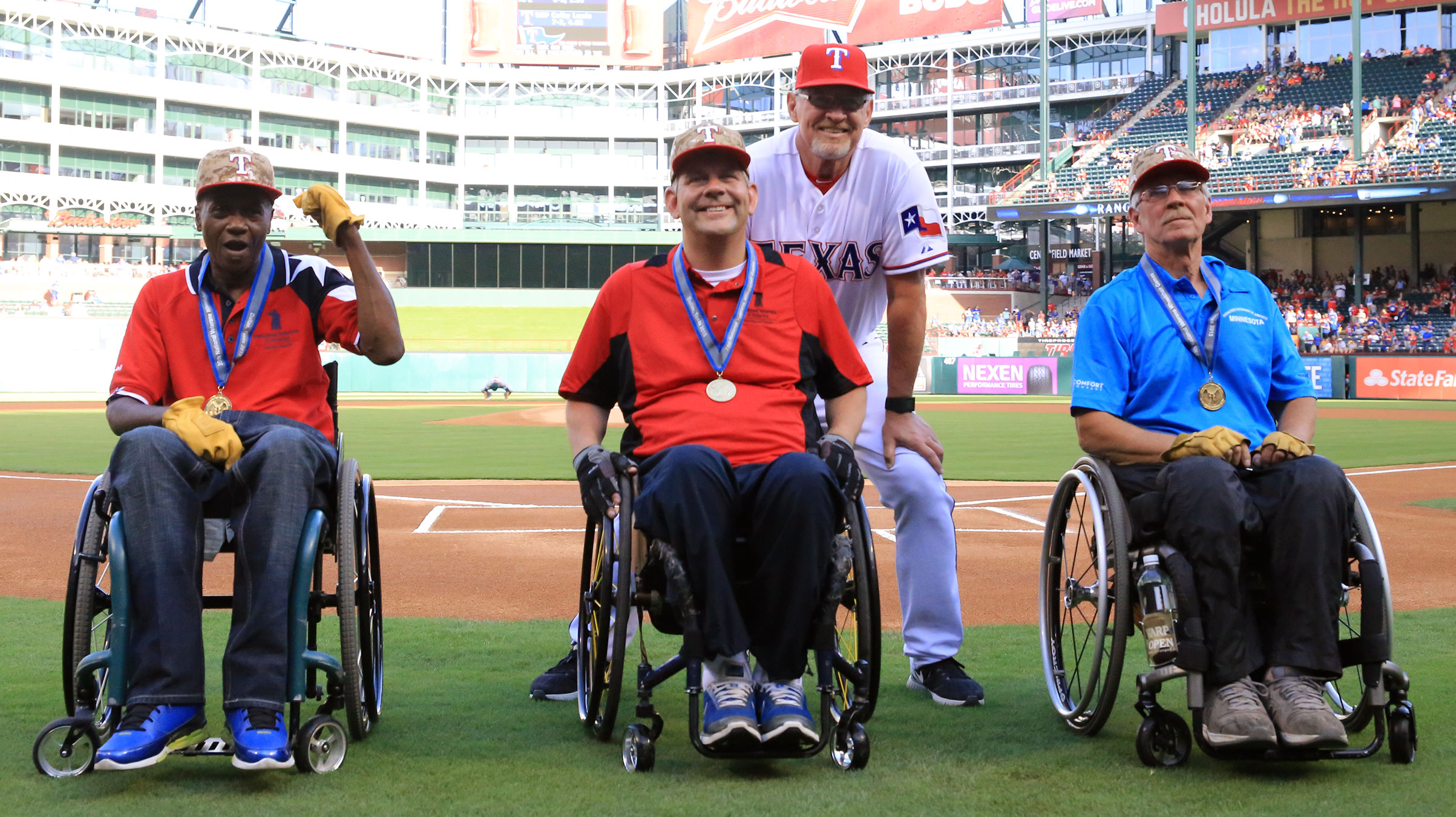 Three Veterans are honored at a Texas Rangers baseball game