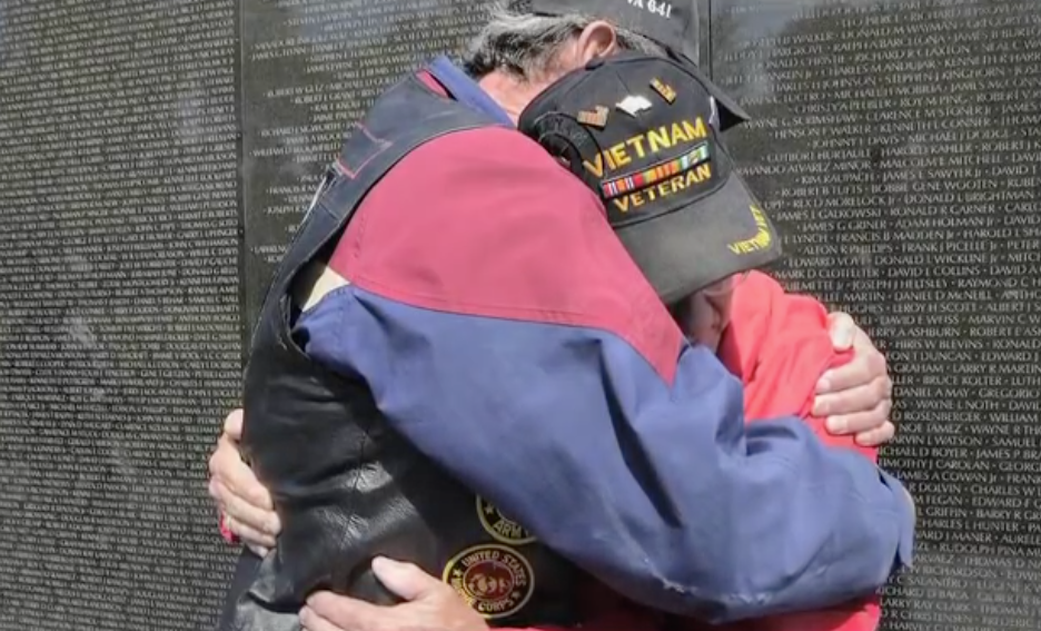 Vietnam Veterans meet at the Wall.