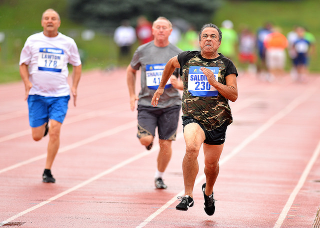 U.S. Marine Corps Veteran Manny Saldivar participates in track at the National Veterans Golden Age Games. Applications are now being accepted to participate in the Games taking place in Detroit, July 10-14.