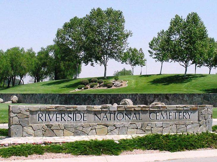 Image of Riverside National Cemetery front entrance.