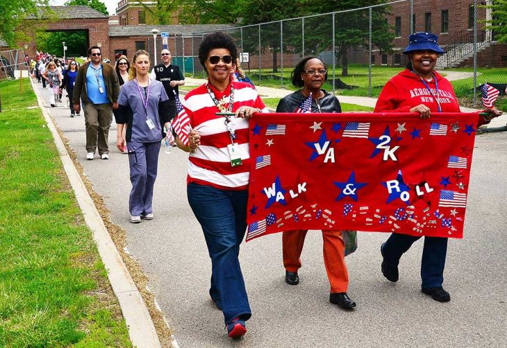 VA employees at the Montrose, NY, campus of the Hudson Valley VA Health Care System take part in the 2016 VA2K Walk & Roll.