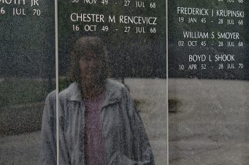 Image pf Nancy Smoyer visits the New Jersey Vietnam Veterans' Memorial Foundation. Her brother William Smoyer was killed in the war and his name is on the NJVVMF wall in Holmdel, NJ.