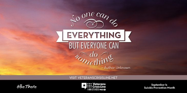 """Suicide prevention image """"no one can do everything but everyone can do something"""