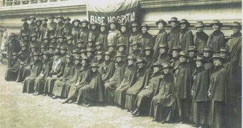 """Women of the U.S. Army Nurse Corps assemble at Base Hospital 18 in Bazoilles-sur-Meuse, France, 1918. Reflecting on her duties, Nettie Eurith Trax (pictured) wrote, """"we do lots of impossible things now."""" Nettie Eurith Trax Collection, AFC/2001/001/55632."""