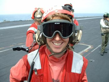Heather Sandler on the (busy!) flight deck of the USS Harry S. Truman (CVN-75). Heather Sandler Collection, AFC/2001/001/87289.