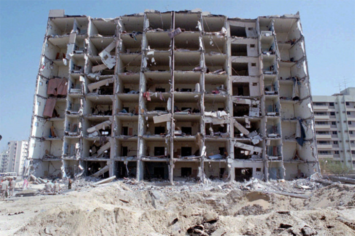 pictured of the towers post explosion