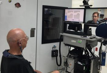 Army Veteran Jeffrey Weinstock meets with Dr. Erica Dombrowsky, audiologist, through Clinical Video Telehealth.
