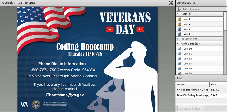 A screen capture of the coding boot camp webinar event.