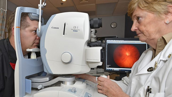 The Technology-based Eye Care Services program, developed by researchers at the Atlanta VAMC, allows patients to be checked for eyeglasses and screened for common eye diseases using special equipment and eye photographs at their local VA community-based outpatient clinic.(Photo courtesy of Atlanta VAMC)