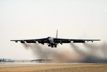 image of a B52 bomber taking off.