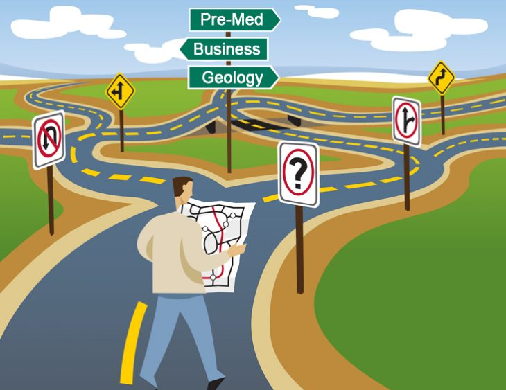 Illustration of man in street at career crossroads, pondering which path to take