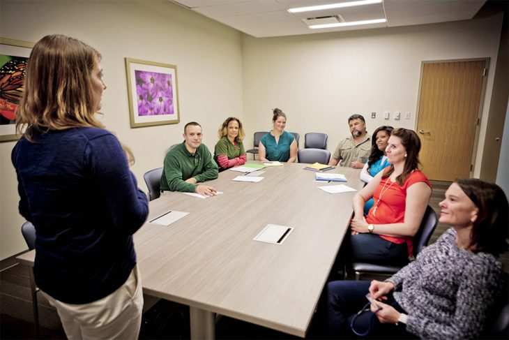 Office of Academic Affiliations conducts a meeting about the upcoming year's goals.
