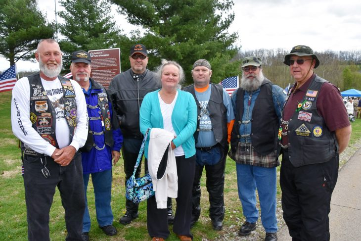 Members of American Legion Post 2 and Rolling Thunder Chapter 3 from Knoxville, Tennessee, join Gold Star mother Barbara Dieruf at a ceremony in Lexington, Kentucky, unveiling the newest Gold Star Families Memorial Monument at Veterans Park.