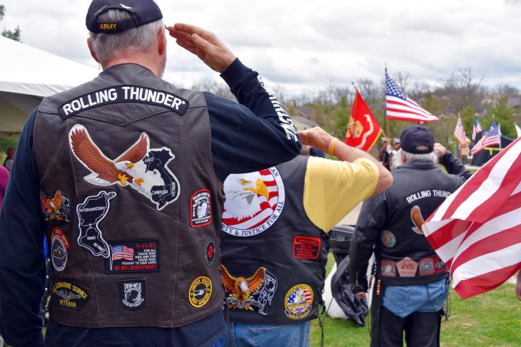 Members of Rolling Thunder render honors at a ceremony in Lexington, Kentucky, unveiling the newest Gold Star Families Memorial Monument at Veterans Park.