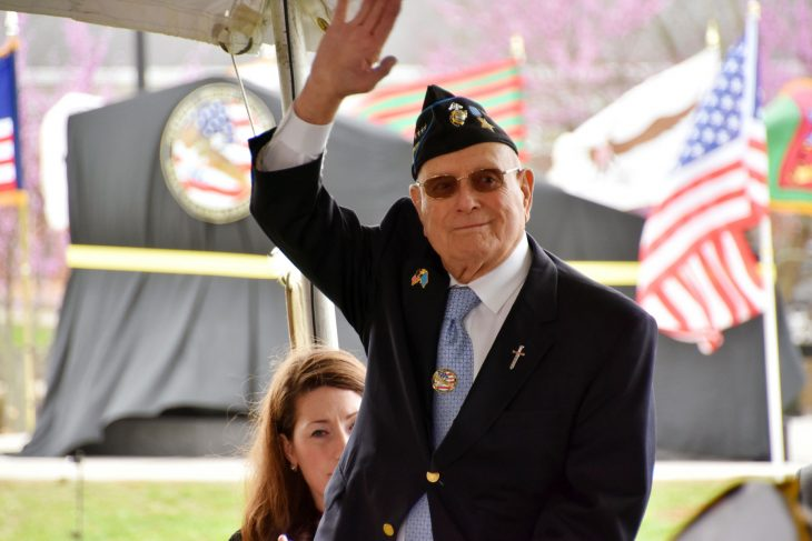 "Marine Veteran and Medal of Honor recipient Hershel ""Woody"" Williams is recognized at an event in Lexington, Kentucky."