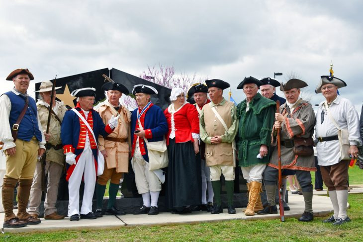 Members of the Sons of the American Revolution participated in the ceremony unveiling a new Gold Star Families Memorial Monument in Lexington, Kentucky.