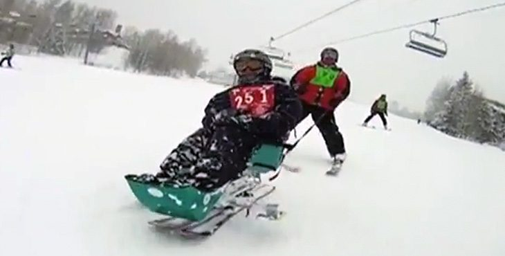 Picture of disabled man skiing