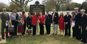 Cemetery Director Craig LaChance (far left) and two of his key staff. Just to the right of the marker are two gentlemen representing the Florida State Elks Association.