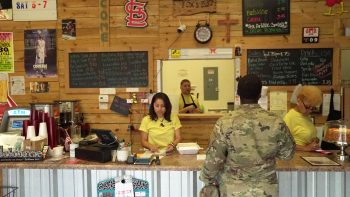 Soldier at Fox's BBQ