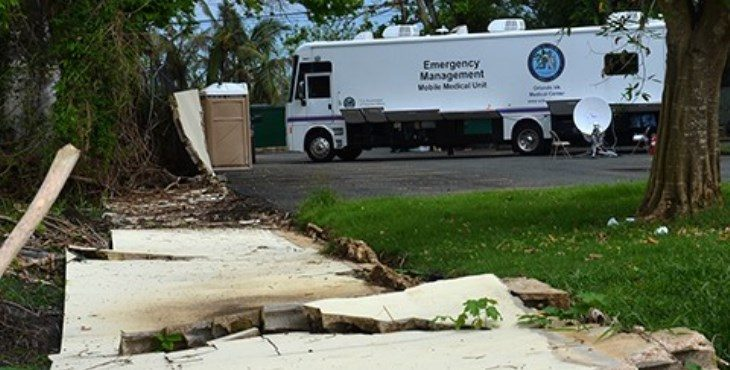 IMAGE: A mobile medical unit in PR serving Veterans following hurricane Maria