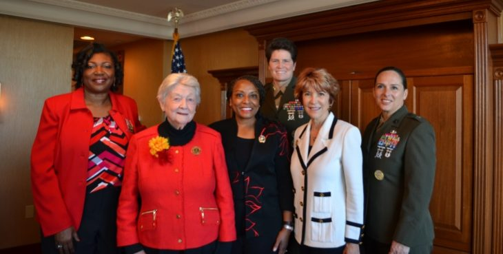 """IMAGE:Pictured with Major General Reynolds (third from the right), Brig. Gen. Shea (far right) is Theresa """"Sue"""" Malone Sousa."""