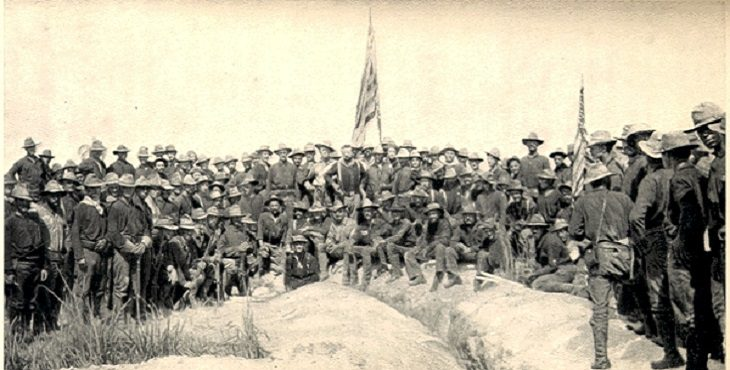 Period Photograph, Approximately one hundred soldiers, Theodore Roosevelt in center