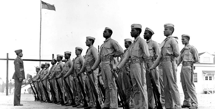Photograph of African-American Marines standing in formation at Camp Montford Point.