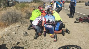 A driver estimated to be traveling at 85 mph lost control of his vehicle and collided with two cyclists. The group immediately rendered aid to the more seriously injured cyclist.