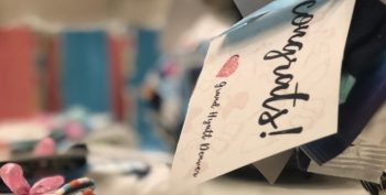 Image: Close up of a congratulations tag on a present