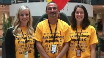 Taylor Browning, PSA, Michael Sidorovic, RN, and Erica Asaro, PharmD of the Asheville VAMC help raise awareness for hepatitis C.