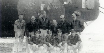 Photograph of the bombing crew that Sidney Malatsky served in during World War II.. crew members pose in a group.