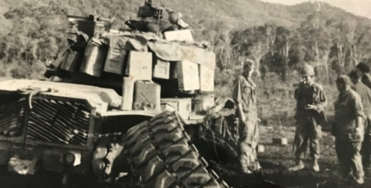 IMAGE: A tank with a busted track in Vietnam