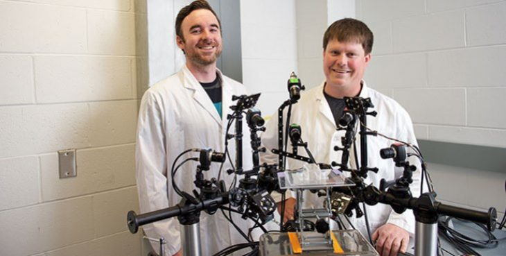 IMAGE: Dr. Levi Sowers is with the Center for the Prevention and Treatment of Visual Loss at the Iowa City VA Health Care System. Some of his research uses optogenetics, which manipulates cells through the use of light. (Photo by Susan McClellen)