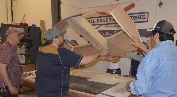 Veterans went once a week to All Hands Boatworks to work on the boat. (Photo by Joe Knox).