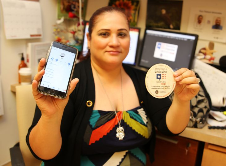 Christie Treviño from the Veterans Transportation Service at the VA Health Care Center at Harlingen, Texas , was one of dozens of VA employees who completed the VCL Challenge by saving the Veterans Crisis Line number to their phone contacts list.  (U.S. Department of Veterans Affairs photo by Luis H. Loza Gutierrez)