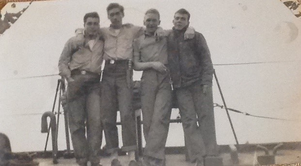 Veteran Sam Aprea with some shipmates from the Navy during WWII.