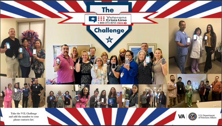Employees at VA Texas Valley Coastal Bend Health Care System, show that they have completed the VCL Challenge by holding up their phones to show that they've added the Veterans Crisis Line number to their contacts list during July 2018. Individuals or groups can complete the VCL Challenge and add the Veterans Crisis Line number 1-800-273-8255 and Press 1 to their phone contacts list. It could save their life or the life of a Veteran they may know. (U.S. Department of Veterans Affairs photos by Nicole Theriot, Elia E. Davila, Melinda Leo-Rodriguez, Claudia Ginez and Tasia Hill were used for VA photo collage by Luis H. Loza Gutierrez)