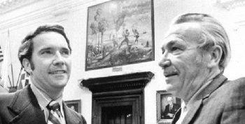 black and white photograph showing artist earl lapan (right) and floirda senate president jerry thomas (left)