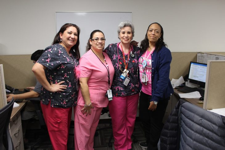 VA employees pose for a group photo. They were among the dozens of VA staff members who wore pink on October 17, 2018, at the VA outpatient clinic in Corpus Christi, Texas, in observance of this year's Breast Cancer Awareness Month. (Photo courtesy of Raquel Uhl)