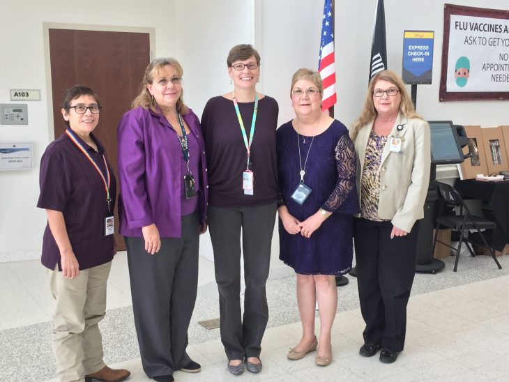 Staff members at the Corpus Christi VA Specialty Clinic pose for a group photo while wearing various purple garments on October 10, 2018. The staff wore purple during the month of October in observance of this year's Domestic Violence Awareness and Prevention Month. (U.S. Department of Veterans Affairs photo by Sheila De La Vega)