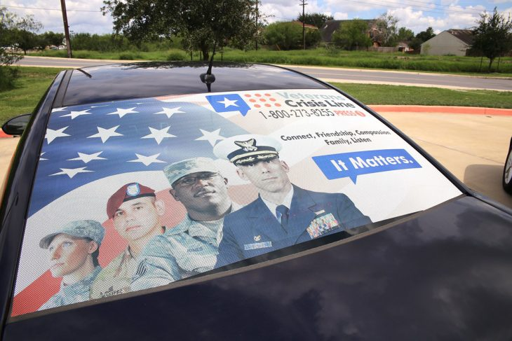Image of this government owned vehicle (GOV) with the Veterans Crisis Line decal graphics on its rear window was part of VA Texas Valley Coastal Bend Health Care System's (VCB) efforts to raise awareness during this year's observance of Suicide Prevention Month. Image taken September 17, 2018, at the VA Health Care Center at Harlingen, Texas. (U.S. Department of Veterans Affairs photo by Luis H. Loza Gutierrez)