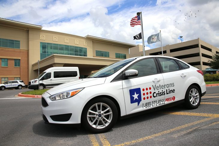 Image of government owned vehicle (GOV) with Veterans Crisis Line decal graphics was part of VA Texas Valley Coastal Bend Health Care System's (VCB) efforts to raise awareness during this year's observance of Suicide Prevention Month. Image taken September 17, 2018, at the VA Health Care Center at Harlingen, Texas. (U.S. Department of Veterans Affairs photo by Luis H. Loza Gutierrez)