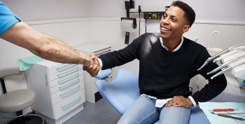 stock photo showing patient in dental office
